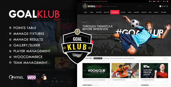 Goal Club | Sports & Events WordPress Theme - Home & Family